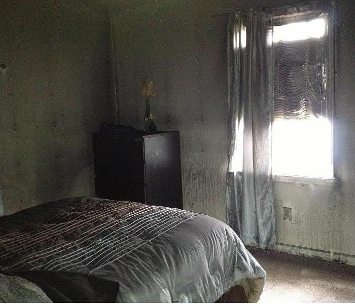 Fire Damage in a Leominster Bedroom Before