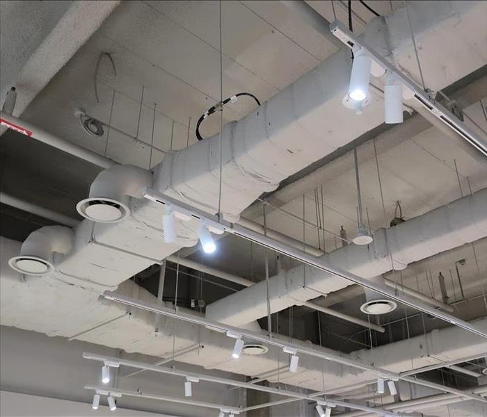 Large commercial warehouse showing the HVAC ductwork